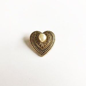 Vintage Bronze Faux Pearl Pin Brooch